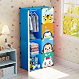 Koossy Erweiterbares Kinderregal Kinder Kleiderschrank mit Karikatur für Kinderzimmer (5Cuebs&1Hanger)