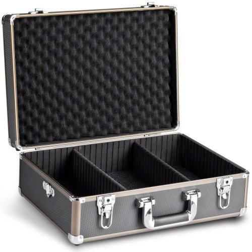 Mantona Basic M Foto-Koffer (inkl. 2 Trennstegen, zusätzlilcher Schaumstoffblock, abnehmbarer Tragegurt und 2 Schlüsseln) schwarz/braun Kamera-cd