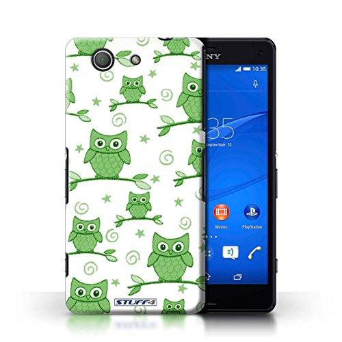 Kobalt® Imprimé Etui / Coque pour Sony Xperia Z3 Compact / Orange/Bleu conception / Série Motif Hibou Vert/Blanc