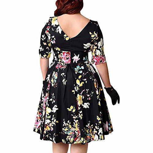 Shanxing Damen Blumen Partykleid Große Größe Kleid 3/4 Ärmel Cocktailkleid Abendkleid Schwarz