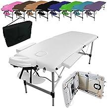 Linxor ® Mesa de masaje plegable 2 zonas de aluminio + accesorios y bolsa de transporte - Nueve colores - Norma CE