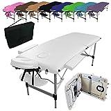 Vivezen ® Table de massage pliante 2 zones en aluminium + accessoires et housse de transport - Blanc - Norme CE