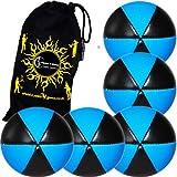 5x Flames N Games ASTRIX UV Thud Jonglierbälle 5er Set (Schwarz/UV Blau) Profi Beanbag Bälle aus Glattleder (Leather) + Reisetasche! Ideal für Anfänger und Profis!
