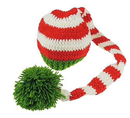 Baby Mädchen Jungen gestreift Wee Willie Winkie Crochet Hut Fotografie Prop von Neugeborene bis 9Monate Gr. NA, Mehrfarbig - Red/White/Green