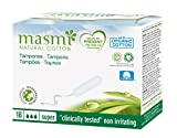 18 Masmi Super Tampons Organic Cotton Non Applicator, Certified Natural and Organic , Hypoallergenic, 100% Biodegradable, Perfume, Viscose, Rayon, Chlorine and Dioxin Free