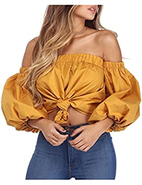 Simplee Apparel Women 's Off Shoulder crop top algodon Casual blusa holgada camisa