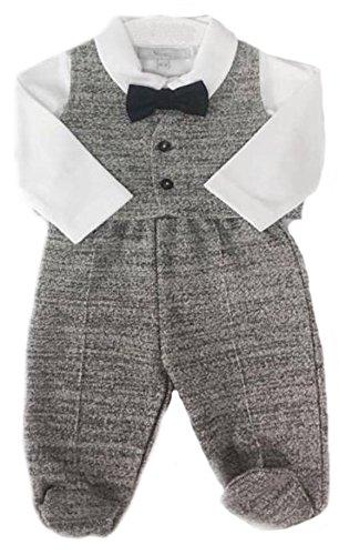 Alpacaandmore Graues Baby Jungen Set Taufanzug Hose mit Fuß Strampelhose Weste Hemd und Fliege Flanell ökologische Pima Baumwolle 0-12 Monate (62) (Graue Flanell-hose)
