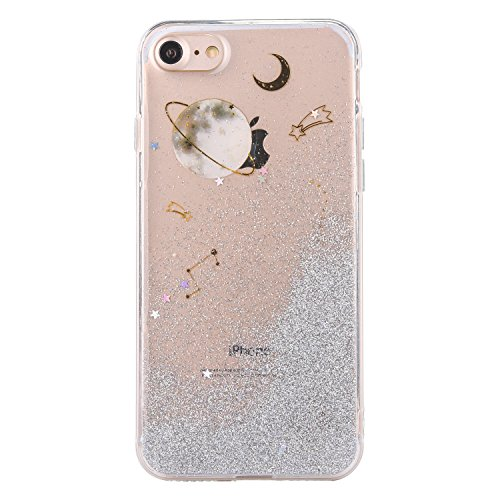 CrazyLemon Hülle für iPhone 6 Plus/iPhone 6S Plus, 3D Schön Epoxy-Prozess Bling Funkeln Grau Sternenhimmel Galaxis Star Mond Planet Weich TPU Hülle für iPhone 6 Plus / 6S Plus - Grau Star Touch Screen