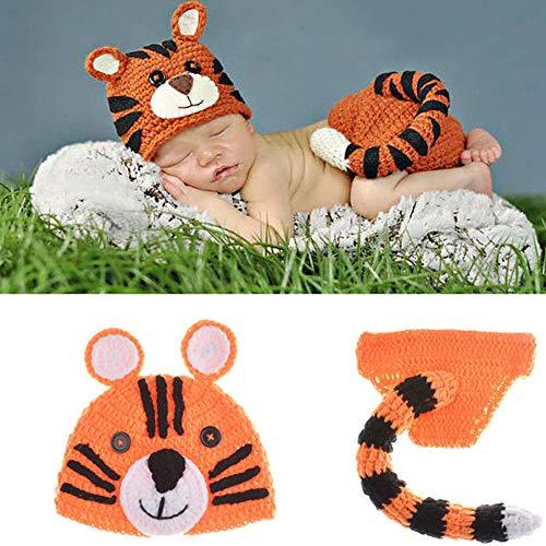 NROCF Tiger Cute Set Neugeborenen Fotografie Kostüm, gehäkelt, Schwanz Bart Ohren, Cartoon handgemachte Baby Fotografie - Neugeborene Tiger Kostüm