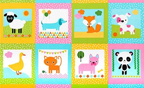 Ann Kelle Kinder-Stoff, Tiersteppung, RK256 Pastellfarben, Urban Zoologie für Robert Kaufman, 100% Baumwolle -