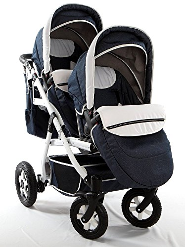 Double pram for twins. 2 carrycots + 2 buggies + 2 car seats + 2 ISOFIX bases. Jeans. BBtwin Berber Carlo Directly from the factory, warranty and advice. Made un the EU according to the regulations EN1888 and ECE44/04. Jeans+white, white chassis. Includes 2 carrycots, 2 buggy seats, 2 car seats, 2 ISOFIX bases, bag, 2 footcovers, 2 rain covers, 2 mosquito nets, lower basket Features: lightweight aluminium frame, easy bending, adjustable handlebar, central brake, lockable front swivel wheels, shock absorbers, each buggy can be instaled independently in both directions, carrycots with a mattress and a washable cover, backrest adjustable in various positions, safety bar and harness of 5 points 4
