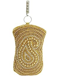 Bagaholics Ethnic Beads & Pearl Clutch Raw Silk Saree Clutch Mobile Pouch Waist Clip Ladies Purse Gift For Women