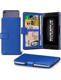 Aventus (Blue) Wileyfox Spark Universal Case Etui Housse Wallet Spring Clamp Premium Pu Cuir Avec Caméra Slide, Titulaire De La Carte De La Fente Et Billets Pocket