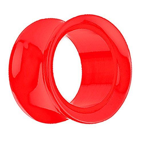 Piersando Piercing Flesh Tunnel Ohr Plug Schraub Double Flared Kunststoff Ohrpiercing Schmuck Schraubverschluss 2mm Rot -