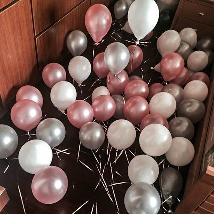 PuTwo Balloons 100 Pack 12 Inch Pink Grey White Kids Birthday Party Supplies Wedding Decorations Baby Shower Hen Party Accessories ? Pink/Grey/White