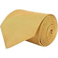 BARATA Men's Microfiber Checks Formal Tie, Free Size (Gold, 535T)