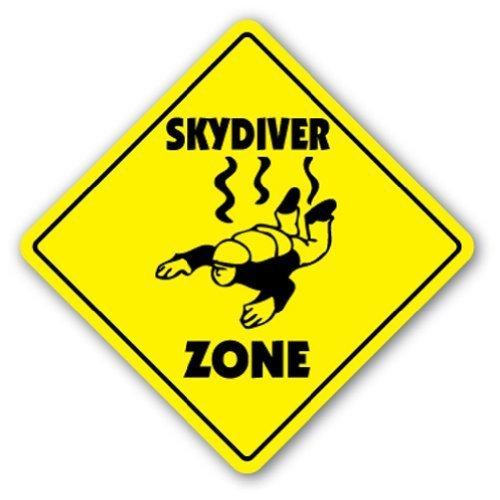 Novedad signo regalo Skydiver Zone Sign novedad aire Borne paracaidismo paracaídas Patio aluminio Metal Sign decorativo para habitación, oficinas