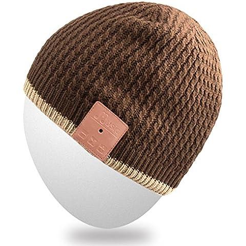 Mydeal lavabile Bluetooth Beanie della protezione del cappello di musica con stereo senza fili sopra l'orecchio Cuffia auricolare microfono altoparlante vivavoce per Iphone Ipad Samsung Android telefoni cellulari, regalo di Natale - Marrone