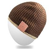 Mydeal Waschbar Bluetooth Strickmütze Musik-Kappe mit Wireless Stereo über Ohr-Kopfhörer-Lautsprecher-Mikrofon Hände frei für Iphone Ipad Samsung Android Handys, Weihnachtsgeschenk - Braun