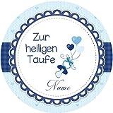Tortenaufleger Taufe4 blau mit Wunschtext / 20 cm Ø