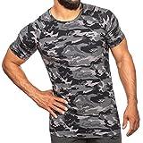 SMILODOX Camouflage Slim Fit T-Shirt Herren | Kurzarm Funktionsshirt für Sport Fitness Gym & Training | Trainingsshirt - Laufshirt - Sportshirt mit Aufdruck, Größe:M, Farbe:Anthrazit Camo