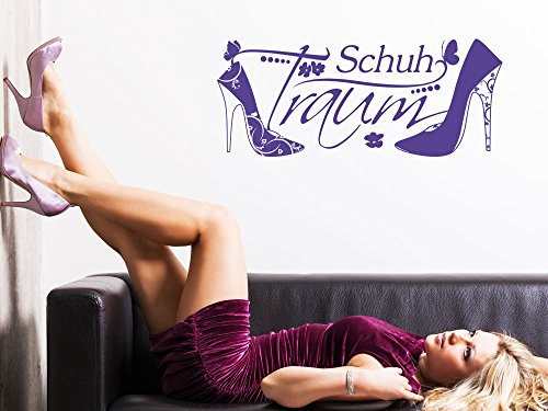 Wandtattoo Wandaufkleber Wand Deko Wohnzimmer Schuh Traum Mädchen (138x57cm//043 lavendel) (Mädchen Schuhe Lavendel)