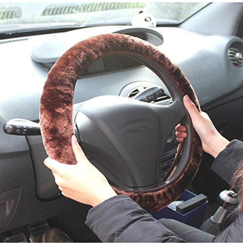 Ouneed Lenkradhüllen , Auto Winter Plüsch flauschig Lenkrad Sets Weiches Warm Plüsch Fahrzeug Auto Lenkradbezug (Braun)