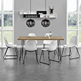 [en.casa]® Esstisch mit Hairpinlegs - Holzfarben - 160cm x 75cm x 77 + 6 x Design-Stuhl - Weiß - im Set