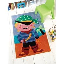 """Los niños Kiddy capitán pirata gancho azul y rojo amarillo alfombra de colores en 70x 100cm (2'4""""x 3' 3) alfombra"""