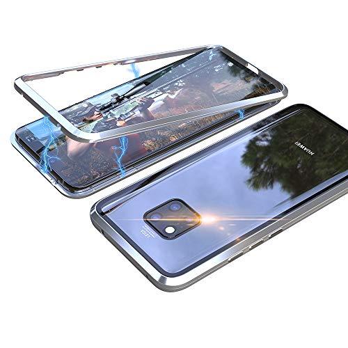 Eastcoo Kompatibel Huawei Mate 20 X Hülle, Stark Magnetische Adsorption Technologie Metallrahmen, Transparent Gehärtetes Glas Rückseite Handyhülle für Huawei Mate 20 X (7.2 Zoll) (Silver)
