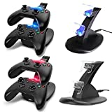 #10: Dual Usb Charging Station, Ce Store Led Light Fast Two Charging Charge Dock Stand With Usb Charge Cable For Microsoft Xbox One X Box1 Gaming Controllers