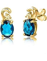 ByJoy - Boucles d'Oreilles - Argent 925/1000 - Ovale - Bleu - Topaze - Femme