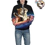 Morbuy Noel Sweats à Capuche Imprimé 3D Hoodie, Unisexe Manches Longues Homme Femme Vêtements Pullover Sweat-Shirts Automne et Hiver Tops (S/M, Chat Galaxy)