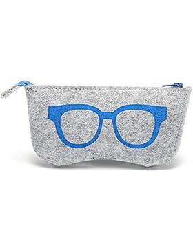 Custodia astuccio portaocchiali tessuto protezione porta occhiali sole vista BLU