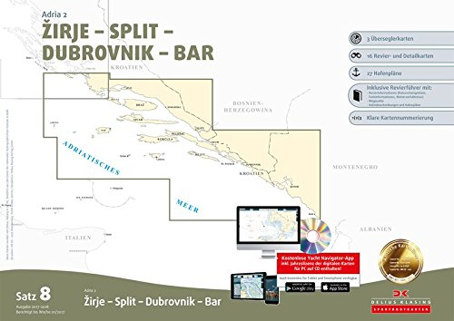 Preisvergleich Produktbild Sportbootkarten Satz 8: Adria 2 (Ausgabe 2017/2018): Zirje - Split - Dubrovnik - Bar