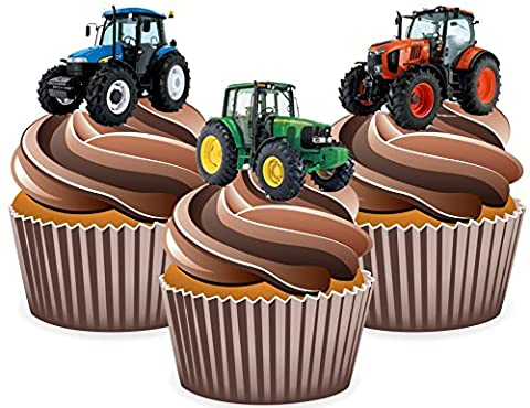 Tractor Cake Decorations - Edible Stand-up Cup Cake Toppers (Pack of 12)