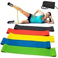 Vkaiy Fitnessbänder/Widerstandsbänder, Set-5 Gymnastikband aus Latex, Trainingsbänder, Loop Bänder, Mini Bands, Übungsbänder für Muskelaufbau Physiotherapie Pilates Yoga Gymnastik und Crossfit