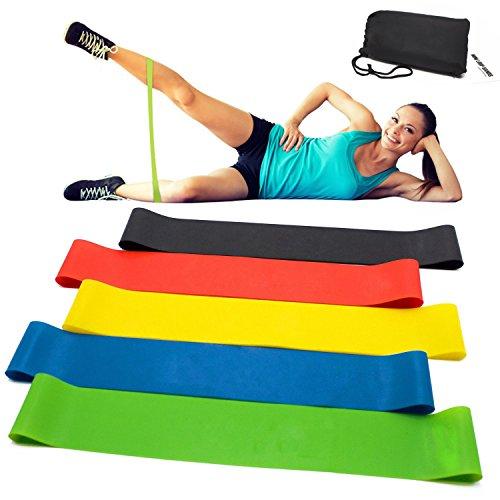 Vkaiy Fitnessbänder/Widerstandsbänder, Set-5 Gymnastikband aus Latex, Trainingsbänder, Loop Bänder, Mini Bands, Übungsbänder für Muskelaufbau Physiotherapie Pilates Yoga Gymnastik und - Training Geräte