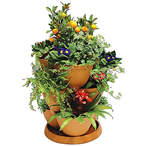 stackable-curved-planter-plastic-garden-plant-pot-container-in-terracotta-5-tiers