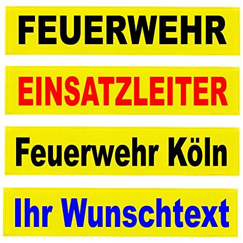 Reflexschild Rückenschild Zitronengelb leuchtgelb reflektierend mit Wunschtext individuell wie RETTUNGSDIENST FEUERWEHR NOTARZT in 15x5cm, 13x2,5cm, 30x5cm 38x8cm, 40x8cm, 42x8cm, 38x16cm (13x2,5cm)