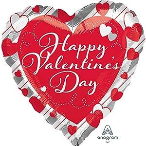 Amscan International 3643801 - Globo de papel de aluminio con forma de corazón, diseño de corazón rojo y rayas plateadas