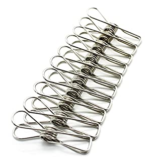 Alohha 50-Pack Clothes Pins,Durable Multi-purpose Utility Stainless Steel Clothes Clips Hooks Pins for Home Office
