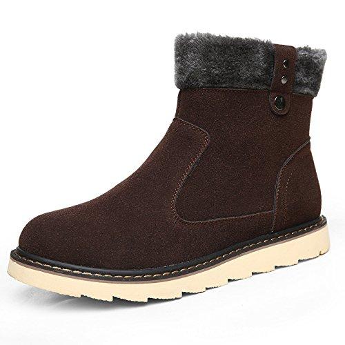 WZGDie neuen Solid Farbe plus Samt warme männliche Aufladungen beiläufige high-top Stiefel rutschfeste Schneeschuhe Wintermodelle Dark Brown