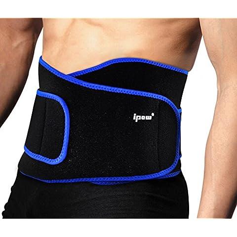 Ipow-Faja de Neopreno Adjustable para la Cintura/Espalda/Lumbar, Cinturón de protección para hombre y mujer, Color Negro con