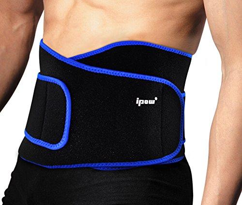#Ipow Profi Fitnessgürtel Sport Rückenbandage Rückenstütze – Hochwertig Atmungsaktiv mit Doppelzug zur elastischen Kompression, Bauchweggürtel für Damen und Herren (Schwarz)#