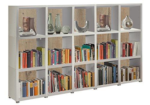 Bücherregal Raumteiler READY 35R in Weiß Seidenmatt mit Rückwand in Castle Oak