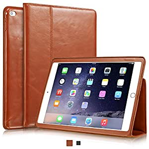 """KAVAJ iPad Air 2 Hülle Echtleder Case """"Berlin"""" für das Apple iPad Air 2 Cognac-Braun aus echtem Leder mit Stand und Auto Schlaf/Aufwachenen Funktion. Dünnes Smart-Cover Schutzhülle Tasche Ledertasche"""