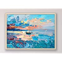 Sunset Ocean Painting on Canvas Original Sailboat Large Wall Art Home Decor Gift