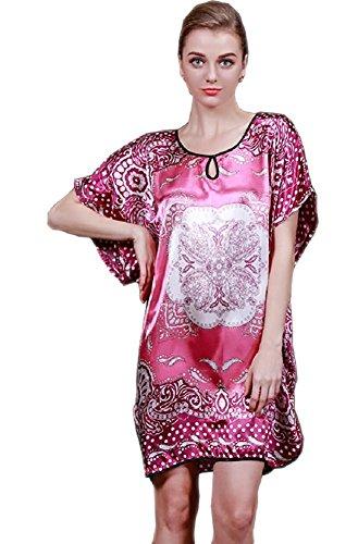 BigForest Femmes Satin Soie Batwing Sleeve Pajama v¨ºtements de nuit Peignoir Dres Set B pink