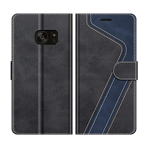 MOBESV Coque pour Samsung Galaxy S7 Edge, Housse en Cuir Samsung Galaxy S7 Edge, Étui Téléphone Samsung Galaxy S7 Edge Magnétique Etui Housse pour Samsung Galaxy S7 Edge, Élégant Noir